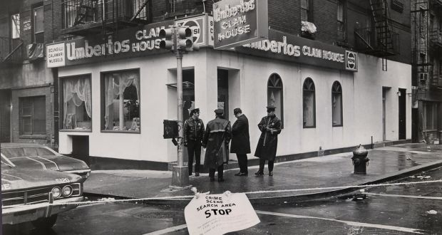 Outside Umberto's Clam House after Vincent 'Crazy Joe' Gallo was killed in New York in 1972.  Photograph: Neal Boenzi/The New York Times