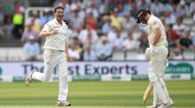 Tim Murtagh celebrates dismissing Jack Leach of England during the Test match at Lord's in July 2019. Photo: Gareth Copley/Getty Images