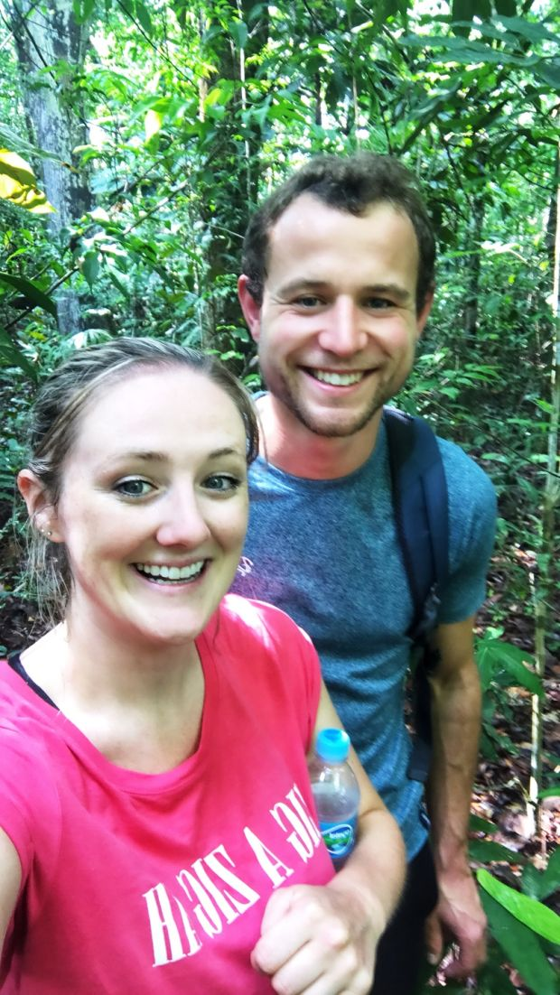 Emma Cahill with her boyfriend Andrew Atkinson in the Amazon.