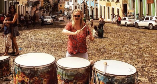 Emma Cahill playing the drumms in Salvador, Brazil.