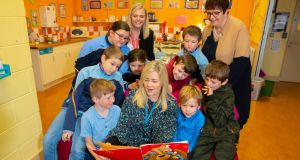 Pupils at Scoil Mhuire's nurture room in Coolcotts, Co Wexford, alongside special needs assistant Lisa Walsh, teacher Ger Pitt and principal Mags Jordan. Photograph: Patrick Browne