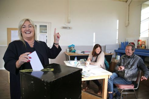 VOTE: Verona Murphy (Fine Gael candidate) casts her vote at the Ramsgrange Parish Hall polling station in Co Wexford. Photograph: Nick Bradshaw/The Irish Times