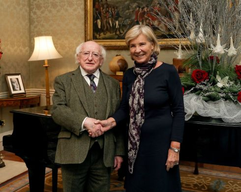 ÁRAS VISIT: President Michael D Higgins welcomed Ms Maud de Boer-Buquicchio, UN Special Rapporteur on the sale of children, child prostitution and child pornography, to Áras an Uachtaráin on Friday. Photograph: maxwellphotography.ie
