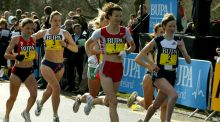Sonia O'Sullivan and Catherina McKiernan at the start of the Bupa Great Ireland Run in the Phoenix Park in 2004.  Photograph: Morgan Treacy/Inpho