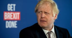 British prime minister Boris Johnson speaks at a press conference  in London, England. Photograph: Chris J Ratcliffe/Getty Images