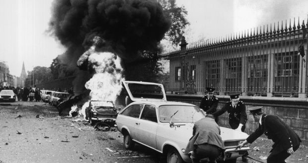 A file image showing the aftermath of the bombing                   on Nassau St, Dublin in 1974. Photograph: The Irish                   Times