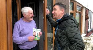 Sinn Féin's Mark Ward (right) is seen canvassing during the 2019 byelection campaign in Clondalkin. Photograph: Fiach Kelly