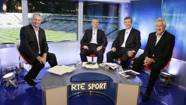 Michael Lyster with football panellists Joe Brolly, Colm O'Rourke and Pat Spillane in studio in Croke Park.