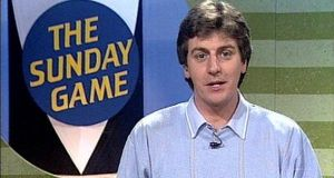 Michael Lyster presenting The Sunday Game in 1990. The broadcaster spent 35 years fronting the live programme.