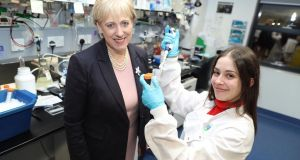 Minister for  Innovation Heather Humphreys  with Lucia Garcia, postdoc research fellow,  UCD