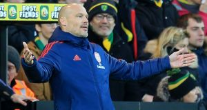 Arsenal's Swedish Interim head coach Freddie Ljungberg gestures on the touchline during the English Premier League game against Norwich at Carrow Road. Photograph:  Lindsey Parnaby/AFP