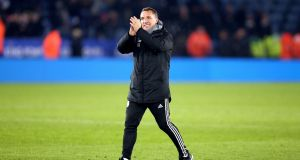 Leicester City manager Brendan Rodgers applauds the fans after his side scored a late winner against Everton during their Premier League clash. Photo: Nigel French/PA Wire
