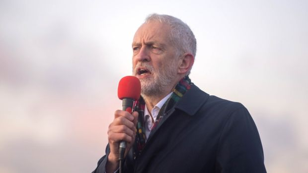 Jeremy Corbyn addresses a rally in Whitby on Sunday. Photograph: Joe Giddens/PA Wire