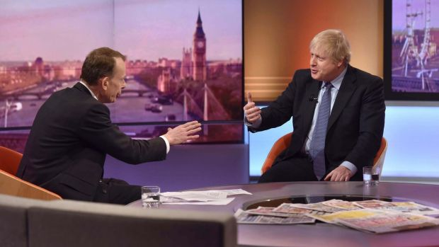 Boris Johnson appears on BBC's Andrew Marr Show on Sunday. The UK prime minister could face more perils this week than Labour leader Jeremy Corbyn. Photograph: EPA/Jeff Overs/BBC