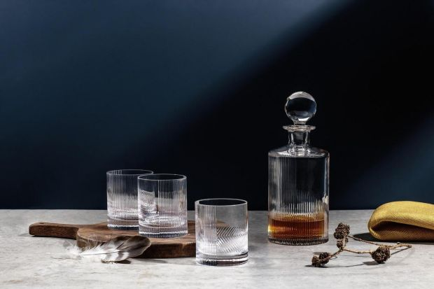 A decanter and tumblers from Criostal na Rinne