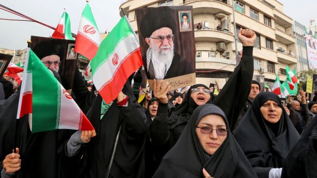 Women taking part a pro-government demonstration in Tehran on November 25th. Photograph: Atta Kenare/AFP via Getty Images