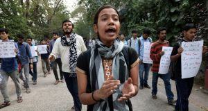 Students in Kolkata shout slogans during a protest against the rape and murder of a 27-year-old woman in Hyderabad. Photograph: Rupak De Chowdhuri/Reuters
