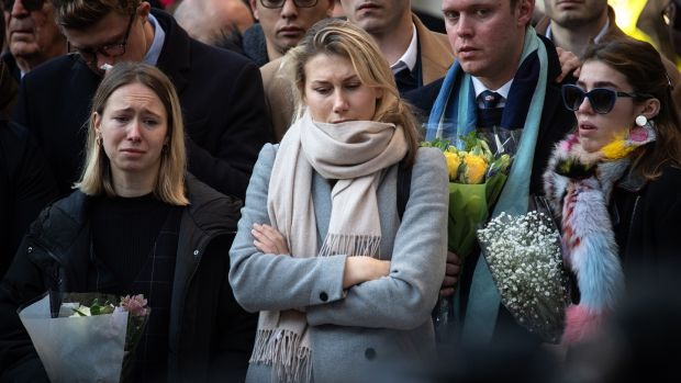 Mourners attend a vigil for victims Jack Merritt (25) and Saskia Jones (23) of the London Bridge attack and to honour the public and emergency services who responded to the incident at the Guildhall Yard on December 2nd, in London. Photograph: Leon Neal/Getty Images