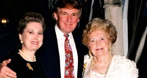 American banker Elizabeth Trump Grau (L) her brother US president  Donald Trump, and their mother Mary Trump  as they pose together at the Mar-a-Lago estate, Florida, 1995. File photograph:  Davidoff Studios/Getty Images