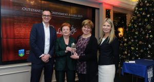 Karlin Lillington, third from left,  receving her Oustanding Achievement Award from Breege O'Donoghue, chair of the Business Journalism Awards judging panel,  John O'Beirne from Bank of Ireland and Prof Geradine Doyle, director of the UCD Smurfit Business School at the Business Journalism Awards in the Westbury Hotel, Dublin. Photograph: Aidan Crawley/For The Irish Times