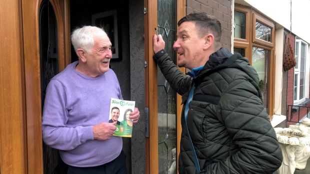 Sinn Féin TD Mark Ward canvasses in Clondalkin before the Dublin Mid West byelection. Photograph: Fiach Kelly