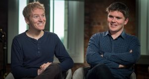 Patrick Collison and John Collison  of Stripe. Their company, one of the world's most valuable start-ups, is building up its staff  in New York. Photograph: David Paul Morris/Bloomberg via Getty Images