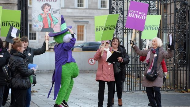 Bingo protesters make their feelings known outside the Dáil. Photograph: Dara MacDónaill/The Irish Times