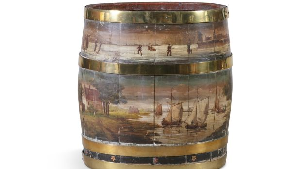 Large 19th-century brass bound oak fuel bucket painted with a Dutch winter scene, €600-€800 Adam's