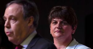 The unpublished report into the Renewable Heating Initiative scandal hangs over DUP leader Arlene Foster, while deputy leader Nigel Dodds faces a challenge for his North Belfast seat. Photograph: Charles McQuillan/Getty