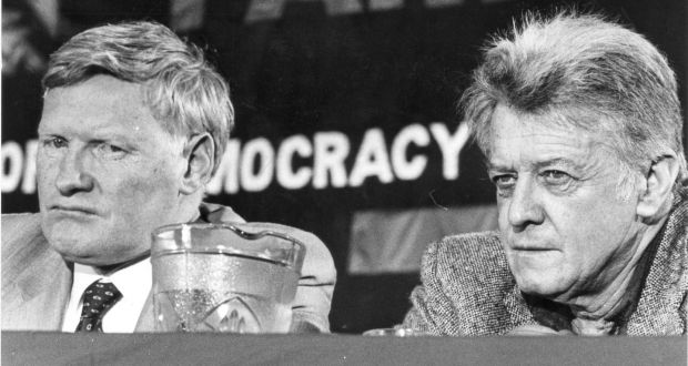 The general secretary of the Workers Party,  Seán Garland, and a member of the ard comhairle, Mr Cathal Goulding, at the 1986 Workers' Party ard-fheis. Photograph: Paddy Whelan