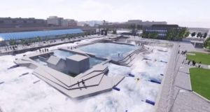 Already, the city's management has spent €1 million on the white-water rafting design Dublin city's management has spent €1 million on the white-water rafting design