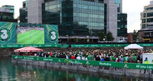 Festival of football at George's Dock, Dublin. The dock is to be converted into an international standard  white-water rapids rafting circuit and polo pool. File photograph: Eric Luke