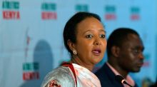 Kenya's sports minister, Amina Mohamed, speaking at a press conference on Wednesday in Nairobi. Photograph: Tony Karumba/AFP via Getty Images