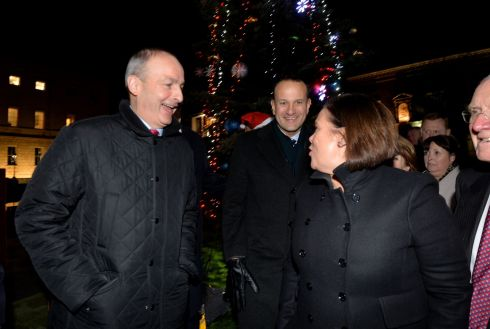 CHRISTMAS CEASEFIRE? Fianna Fáil leader Micheál Martin, Taoiseach Leo Varadkar and Sinn Féin leader Mary Lou McDonald share some atypically merry banter at the switching on of the Oireachtas Christmas Tree lights at Leinster House in Dublin. Photograph: Alan Betson