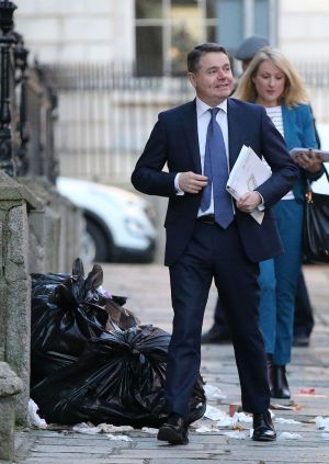 DEFT SIDE-STEP: Minister for Finance and Public Expenditure and Reform, Paschal Donohoe, dodges bags of rubbish on the pavement at North Great George's Street in Dublin before delivering an address to the Institute of International & European Affairs. Photograph: Nick Bradshaw