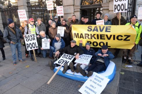POOLING RESOURCES: Bobby Cleary, John Gantley and Gerry Doyle, (at front, from left) among demonstrators outside the Dáil on Kildare Street, Dublin, seeking to Save Markievicz Pool, located on Townsend Street, and to highlight what they say is a lack of public swimming facilities in the city. Photograph: Dara Mac Dónaill