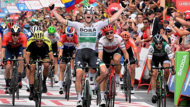 Sam Bennett celebrates winning the third stage of the Vuelta from Ibi to Alicante back in 2019. Photograph: Jose Jordan/AFP/Getty Images