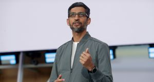 Sundar Pichai, who has been leading Google as chief executive for more than four years, will stay in his role and also become chief executive of Alphabet. File photograph: Jeff Chiu/AP Photo