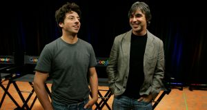 Google co-founders Sergey Brin (left) and Larry Page talk about the then-new Google Browser, Chrome, back in 2008. File photograph: Paul Sakuma/AP Photo