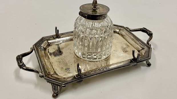 Jack B Yeats' ink bottle and tray (€700- €900)