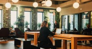 A WeWork common space in New York. The traditional practice of automatically putting people together in a central hub is coming under increased scrutiny. Photograph: Cole Wilson/The New York Times