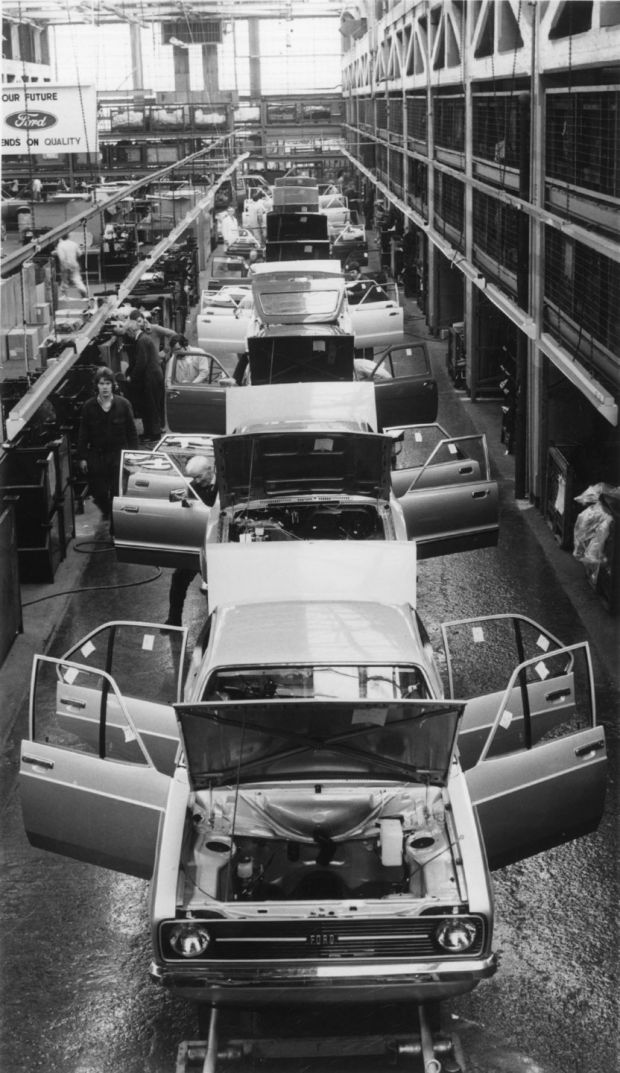 Escorts and Cortinas on the production line in Cork during the 1980s.