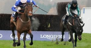 Cyrname (L) subjected Altior to a first defeat over jumps at Ascot. Both are still in contention for the King George. Photograph: Alan Crowhurst/Getty