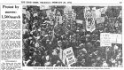 "1970 was a ""year of militancy"" for nurses, who marched in protest for the first time, as covered by The Irish TImes."