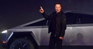 Tesla co-founder Elon Musk at the launch of the Tesla Cybertruck. Ratings agencies differ sharply on whether Tesla is an ethical or unethical company. Photograph: Frederic J Brown/AFP