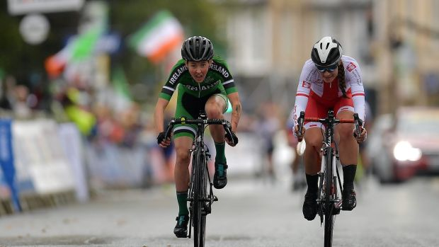 Maeve Gallagher competing in the World Cycling Championships in Harrogate in Yorkshire, where she endured a nasty crash inside the final 500 metres. Photograph: Justin Setterfield/Getty Images