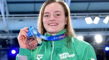 Ireland's Mona McSharry  with her bronze medal after the final of the 50m breaststroke at the 2019 LEN European Short Course Swimming Championships at the  Tollcross International Swimming Centre in Glasgow. Photograph: Andrea Staccioli/Inpho