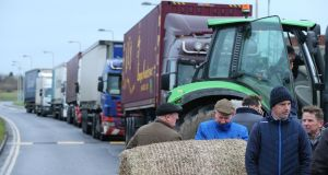 Farmers protesting outside the Aldi distribution centre in Naas. Photograph: Nick Bradshaw