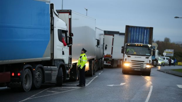 The IFA protest at the Aldi distribution centre in Naas caused a backlog of trucks. Photograph: Nick Bradshaw.