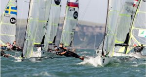 Robert Dickson and Sean Waddilove are competing in the 49er World Championship in Auckland. Photo: Sailing Energy